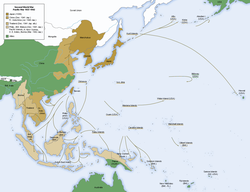 Map of Japanese military advances, until mid-1942