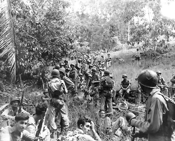 US Marines                                during the                                 Guadalcanal Campaign                                , in the                                 Pacific theatre                                , 1942