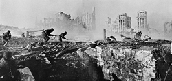 Red Army                                soldiers on the counterattack, during the                                 Battle of Stalingrad                                , February 1943