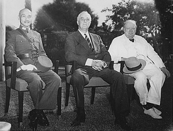 The Allied leaders of the Asian and Pacific Theater: Generalissimo Chiang Kai-shek, Franklin D. Roosevelt, and Winston Churchill meeting at the Cairo Conference, 25 November 1943