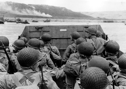 American troops approaching Omaha Beach, during the Invasion of Normandy on D-Day, 6 June 1944