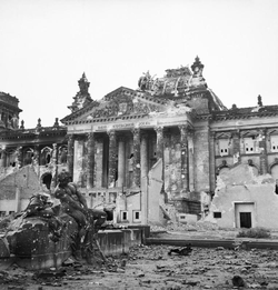 The German                                 Reichstag                                after its capture by the Allies, 3 June 1945
