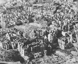Ruins of Warsaw in January 1945, after the deliberate destruction of the city by the occupying German forces