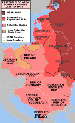 Post-war Soviet territorial expansion resulted in Central European border changes, the creation of a Communist Bloc and start of the Cold War