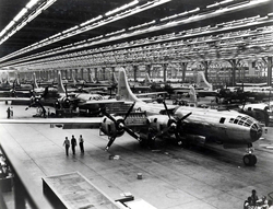 B-29 Superfortress                                                 strategic bombers                                on the                                 Boeing                                assembly line in                                 Wichita, Kansas                                , 1944