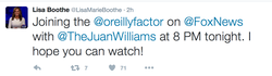On Tuesday, 13 September 2016, she was onO'Reilly FactorwithBill O'Reilly.[3]