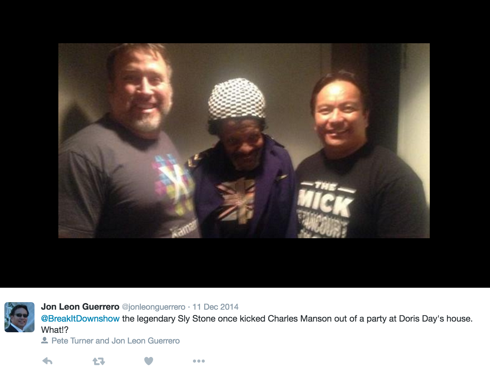 This photo features Pete and Jon withthe groundbreakingmusician and cultural icon, Sly Stone. He was their guest on the 100th episode of the Break It Down Show.