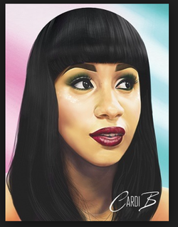 A drawing of Cardi B