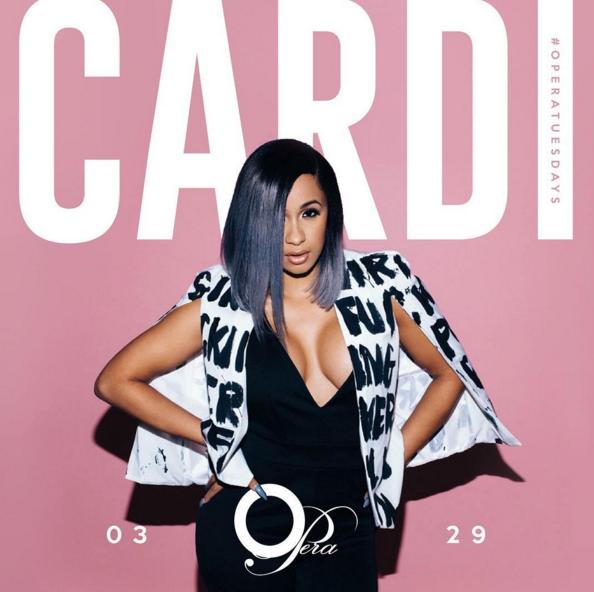 Cardi B promoting an event.