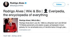 Rodrigo Alves​ known as the Human Ken Doll sharing his Everipedia article on Twitter​