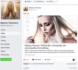 Dj Sabrina Terence​ sharing her Everipedia article on Facebook​
