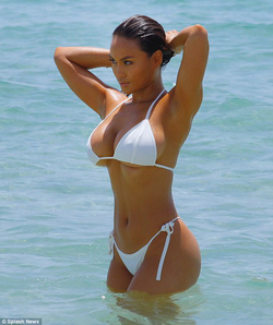 Daphne Joy in a bikini (white); taken on July 23, 2017