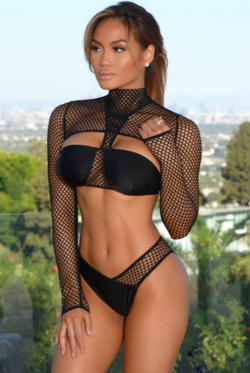 Daphne Joy in a bikini (Forbes Long Sleeve Mesh) - front