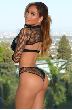 Daphne Joy in a bikini (Forbes Long Sleeve Mesh) - back