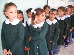 Schoolgirls in Gaza lining up for class, 2009