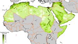 Population density of the Arab world in 2008
