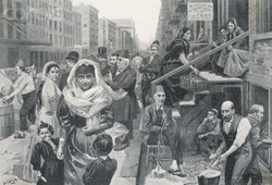 Syrian immigrants in New York City, as depicted in 1895
