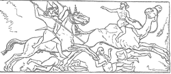 Assyrian horsemen pursue defeated Arabs