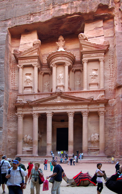 Facade of Al Khazneh in Petra, Jordan, built by the Nabateans