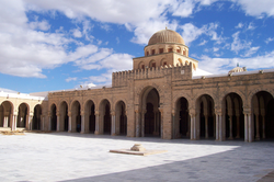The Great Mosque of Kairouan in Kairouan, Tunisia was founded in 670 by the Arab general Uqba ibn Nafi; it is the oldest mosque in the Maghreb [2] and represents an architectural testimony of the Arab conquest of North Africa