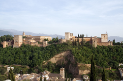 View of the Alhambra from the Mirador de San Nicolás in the Albaycin of Granada