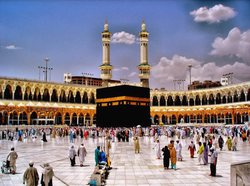 The Kaaba, located in Mecca (Saudi Arabia) is the center of Islam. It is where able Muslims from all over the world come to perform Umrah and Hajj