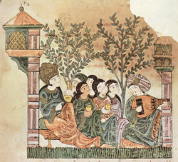 """Bayad plays the oud to the lady"", Arabic manuscript for Qissat Bayad wa Reyad tale from late 12th century"