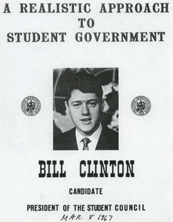 Clinton ran for President of the                                 Student Council                                while attending the School of Foreign Service at                                 Georgetown University                                .