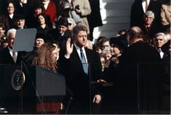 Clinton takes the                                 oath of office                                from Chief Justice                                 William Rehnquist                                during his                                 1993 presidential inauguration                                on January 20, 1993.