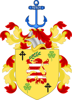 Clinton's coat of arms, granted by the                                 Chief Herald of Ireland                                in 1995.