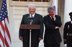 Clinton and                                 Russian President                                                 Boris Yeltsin                                in October 1995