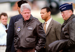 General John P. Jumper, U.S. Air Forces in Europe commander, escorts Clinton upon his arrival to                                 Ramstein Air Base                                , Germany, May 5, 1999. The president visited several European air bases to thank the troops for their support of NATO Operations Allied Force and Shining Hope.