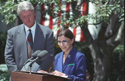 Ruth Bader Ginsburg                                accepting her nomination to the Supreme Court from President Clinton.