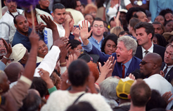 "Clinton at a Democratic ""                                 Get out the vote                                "" rally in Los Angeles on November 2, 2000"