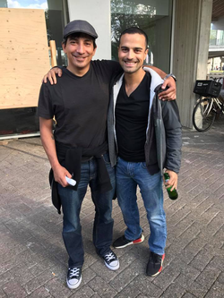 Hanging out with WebVR advocate, Damon Hernandez, at the VRBASE XR co-working space in Amsterdam, Netherlands in 2017.