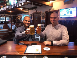 Celebrating an investment victory with Virtuleap cofounder, Roland Dubois, in New York City in 2018.