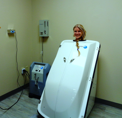 Detoxification Educator experiencing one of many HOCATT treatments. HOCATT stands for Hyperthermic Ozone and Carbonic Acid Transdermal Therapy. This device combines ozone, carbonic acid, oxygen, electrotherapy, ultraviolet irradiation, far infrared, hyperthermia, and ultra sound.