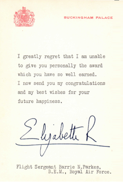 Letter from Queen Elizabeth 11