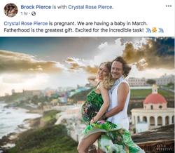 Brock Pierce sharing status of Crypto Pierce on Facebook
