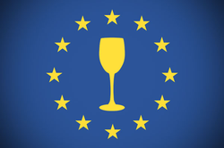 EU logo with a wine glass in the middle