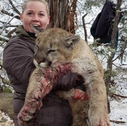 Franchesca Esplin pictured with a dead mountain lion​