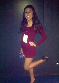 Georgia Rodger in a dress