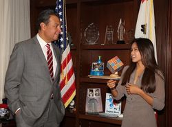 Hannah Hsieh with California Secretary of State,  Alex Padilla [1]