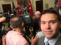 Taking a selfie at a press conference ofDonald Trump andRecep Tayyip Erdoğan