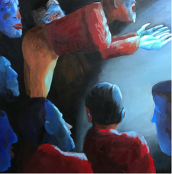 The Very Bad Monologue (2017, Oil on canvas, 24 x 24 inches) [8]