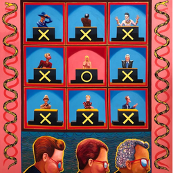 Hollywood Squares (2018, Oil on canvas, 48 x 48 inches) [8]​