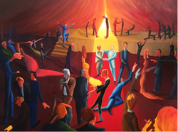 Ballroom Glossies (2018, Oil on canvas, 36 x 48 inches) [8]​
