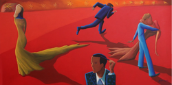 Run Baby! (2017, Oil on canvas, 24 x 48 inches) [8]