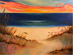 Sunset Over Sea Oats (2018, Oil on canvas, 36 x 48 inches) [8]​