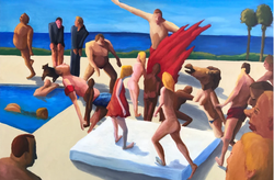 Malibu Party (2017, Oil on canvas, 24 x 36 inches) [8]​